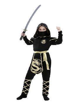 disfraz de ninja dragon dorado niña