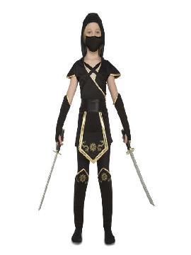 disfraz de ninja dragon dorado y negro niña