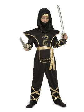disfraz de ninja dragon dorado y negro niño