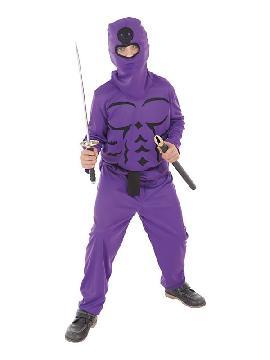 disfraz de ninja lila para niño