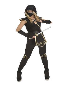 disfraz de ninja negro y dorado mujer