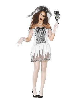 disfraz de novia cadaver corto mujer
