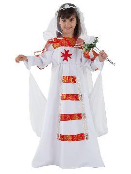 Disfraz de novia medieval niña infantil. Te transformará en una auténtica protagonista de la época Medieval con este traje de novia. Es ideal para tus fiestas temáticas de disfraces época y medievales para la edad media. fabricación nacional