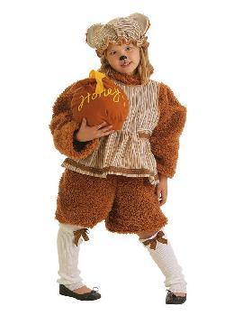 disfraz de osita hija con tarro de miel niña