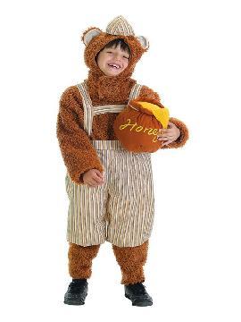 disfraz de osito hijo con tarro de miel niño