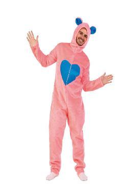 disfraz de oso amoroso rosa con peluche hombre