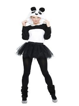 disfraz de osos panda con tutu mujer sera el animal más mimoso y encima irás más calentitos. Está compuesto por un mono en negro y blanco y una falda de tul. Este traje para bebe es ideal para fiestas tematicas, carnaval y festivales adulto.