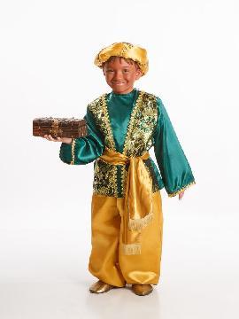 Disfraz de paje baltasar para niño infantil. Transformará a tu hijo en el ayudante del los Dueños del Castillo o del Rey Mago proveniente de Asia. No limites tu imaginación a Navidad y vístelo de Príncipe.Este disfraz es ideal para tus fiestas temáticas de disfraces reyes magos para niños infantiles.