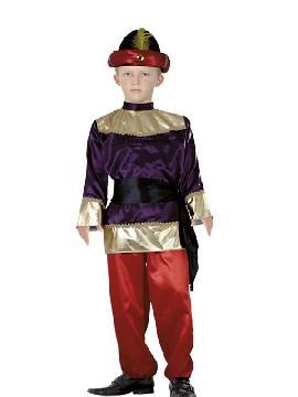 Disfraz de paje morado niño. Transformará a tu hijo en el ayudante del los Dueños del Castillo o del Rey Mago proveniente de Asia. No limites tu imaginación a Navidad y vístelo de Príncipe. Este disfraz es ideal para tus fiestas temáticas de disfraces reyes magos para niños infantiles.