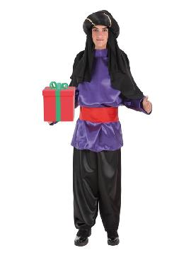 disfraz de paje real lila para hombre