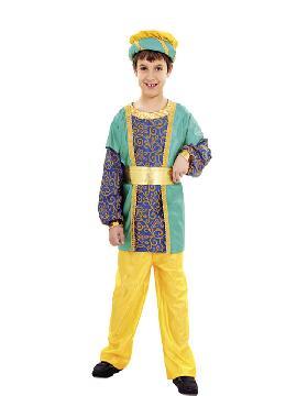 Disfraz de paje rey Gaspar niño. Transformará a tu hijo en el ayudante del los Dueños del Castillo o del Rey Mago proveniente de Asia. No limites tu imaginación a Navidad y vístelo de Príncipe.Este disfraz es ideal para tus fiestas temáticas de disfraces reyes magos para niños infantiles.