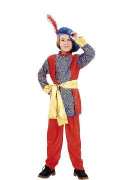 disfraz de paje rey melchor infantil varias tallas. Transformará a tu hijo en el ayudante del los Dueños del Castillo o del Rey Mago proveniente de Asia. No limites tu imaginación a Navidad y vístelo de Príncipe.Este disfraz es ideal para tus fiestas temáticas de disfraces reyes magos para niños infantiles.