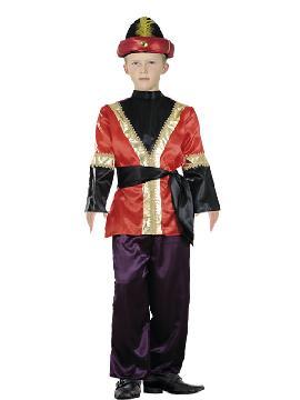 disfraz de paje rojo niño varias tallas. Transformará a tu hijo en el ayudante del los Dueños del Castillo o del Rey Mago proveniente de Asia. No limites tu imaginación a Navidad y vístelo de Príncipe.Este disfraz es ideal para tus fiestas temáticas de disfraces reyes magos para niños infantiles.