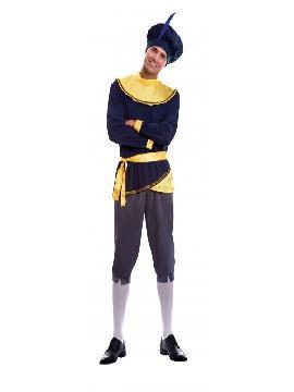 disfraz de paje terciopelo azul adulto. Te convertirá en el perfecto acompañante de los Reyes Medievales o de uno de los Magos de Oriente.Este disfraz es ideal para tus fiestas temáticas de disfraces reyes magos para hombre adulto.