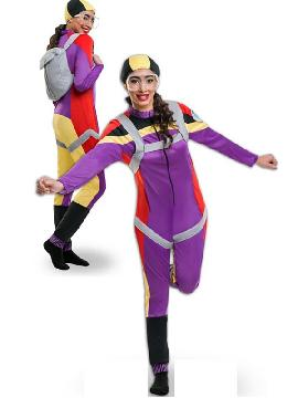 Este disfraz de paracaidista para mujer de lo más gracioso y original con su paracaidas en la espalda para tirarte a una altura cosiderable. Si tienes una fiesta de disfraces graciosos y divertidos este es tu disfraz adulto, donde tambien está la pareja para ser de los más originales en carnaval, halloween, despedida de solteras o fiesta temática.