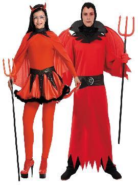 disfraz de pareja de demonios hombre y mujer. Este disfraz de halloween es ideal para tus fiestas temáticas de disfraces demonios y miedo para parejas de hombre y mujer.