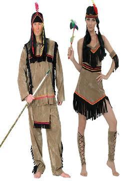 disfraz de pareja de indios hombre y mujer adultos. Estos fantasticos trajes de India y indio te hará sentir una auténtico jefe de tu tribu y con el que causarás sensación en Carnaval, Despedidas, Espectáculos.Este disfraz es ideal para tus fiestas temáticas de disfraces para parejas de indios y vaqueros adultos