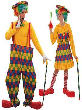 disfraz de pareja de payasos baratos hombre y mujer adultos. Todo ello confeccionado en colores llamativos.Este disfraz es ideal para tus fiestas temáticas de disfraces de payasos del circo,bufones y arlequines de parejas hombre y mujer.