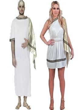 disfraz de pareja de romanos baratos hombre y mujer adultos. Estos disfraces son perfectos para trasladarte a la antigua Roma o para convertirte en una auténtica Diosa del Olimpo Griego en Fiestas de Disfraces Temáticas o Carnaval.Este disfraz es ideal para tus fiestas temáticas de disfraces romanos y egipcios para parejas de hombre y mujer.