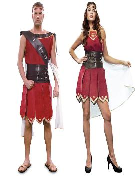 disfraz de pareja de romanos rojos hombre y mujer. Este traje es ideal para tus fiestas temáticas de disfraces romanos y egipcios para parejas de hombre y mujer.