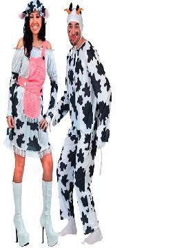 disfraz de pareja de vacas hombre y mujer adultos.  Disfrazaros de estos trajes de vacas blanca con manchas negras de una de nuestras Tiendas de disfraces Online. Este cómico y gracioso traje de color blanco y sus manchitas negras.Este disfraz es ideal para tus fiestas temáticas de disfraces para parejas de animales