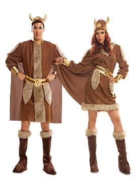disfraz de pareja de vikingos hombre y mujer adultos.Para la fiesta temática de vikingos y barbaros. Compra tu disfraz de vikingo barato para grupo.Este disfraz es ideal para tus fiestas temáticas de disfraces de guerreros y arabes para parejas de hombre y mujer.