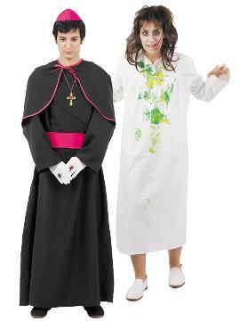 disfraz de pareja exorcista hombre y mujer. Este disfraz de halloween es ideal para tus fiestas temáticas de disfraces terror y miedo para parejas de hombre y mujer.