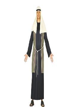 Disfraz de pastor hebreo azul hombre adulto. De estética árabe, te permitirá sentirte como un Jeque Árabe en Fiestas Temáticas y Carnaval, un Pastor en Navidad o un Mercader Medieval. Este disfraz es ideal para tus fiestas temáticas de disfraces de navidad y cabalgatas de reyes adulto.