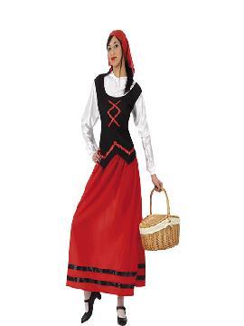 Disfraz de pastora roja mujer adulto. Podrás encarnar a una Pastorcilla en un Belén o Representación Teatral de Navidad, así como a una Campesina o Granjera en Ferias Medievales