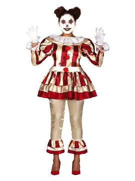 disfraz de payasa asesina rayas mujer