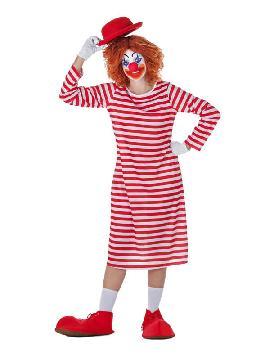 disfraz de payasa camison rayas para mujer