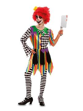 disfraz de payasa colorida siniestra niña
