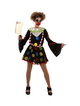 disfraz de payasa diabolica mujer. Como este traje en negro con topos de colores no pasaras desapercibida el la fiesta más terrorifica que es halloween. Este disfraz es ideal par parejas o familia o tus fiestas temáticas de disfraces de payasos del circo,bufones y arlequines para adultos.