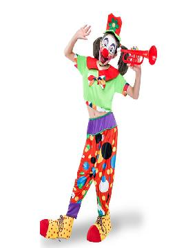 disfraz de payasa flautica niña infantil. Este comodísimo traje es perfecto.para carnavales, espectáculos, cumpleaños y tambien para las fiesta de los colegios como fin de curso o cualquier otras actividades.Este disfraz es ideal para tus fiestas temáticas de disfraces de payasos del circo,bufones y arlequines para niños infantiles.