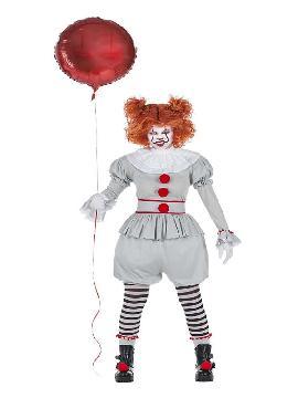 disfraz de payasa mala con globo mujer