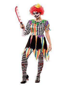 disfraz de payasa multicolor siniestra mujer