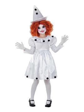 disfraz de payasa pierrot vestido para niña