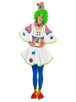 disfrazde payaso divertido deluxe mujer adulto. Conviértete en un auténtico clown de circo con este amplio disfraz en tus fiestas temáticas.Este disfraz es ideal para tus fiestas temáticas de disfraces de payasos del circo,bufones y arlequines para hombre adultos. fabricacion nacional