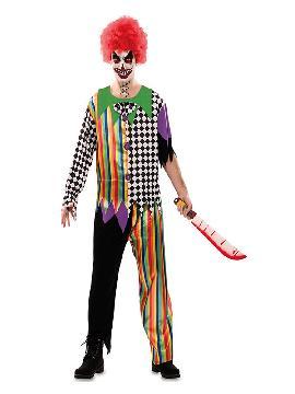 disfraz de payaso multicolor siniestro hombre