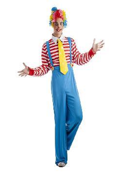 disfraz de payaso rayas para hombre adulto. Conviértete en un auténtico payaso de circo con este amplio disfraz en tus fiestas temáticas.Este disfraz es ideal para parejas, familias o tus fiestas temáticas de disfraces de payasos del circo,bufones y arlequines para hombre adultos.