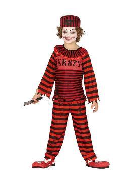 disfraz de payaso rojo negro rayas niño