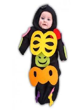 disfraz de pequeño esqueleto bebe. Será la elección perfecta para la noche de los muertos. En halloween arrastrarás tus cadenas de condenado por todas las fiestas. Este disfraz es ideal para tus fiestas temáticas de miedo y terror infantil.