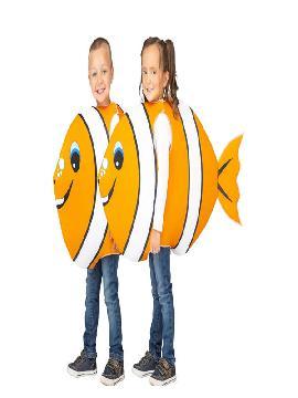 disfraz de pez naranja y blanco infantil