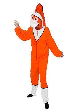 disfraz de pez nemo naranja adulto. Podrás transformarte en el sobrepotector Marlin, el padre del pequeño Nemo, enfundate en tu disfraz y emprende la busqueda del famoso  buscando a dori de la película de Disney Pixar. En fiestas tematicas y carnaval. Este disfraz es ideal para tus fiestas temáticas de disfraces de animales para hombre y mujer adultos.