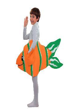 disfraz de pez payaso para infantil. Transformar al más pequeño de la familia en el famoso pez nemo de la película de Disney Pixar. Estará muy cómodo y calentito en Fiestas Temáticas o Carnaval.