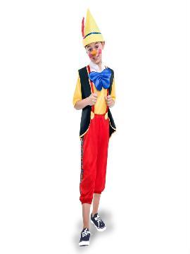 disfraz de pinocho para niño infantil. Con este traje seras el mejor amigo de gepeto en sus fiestas de disfraces. Este disfraz es ideal para tus fiestas temáticas de television y cuentos para infantil