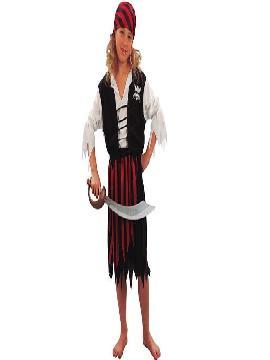disfraz de pirata barato niña. Este comodísimo traje de falda con rayas y camisa blanca es perfecto para carnavales.Este disfraz es ideal para tus fiestas temáticas de disfraces de piratas, bucaneros y corsarios infantiles.