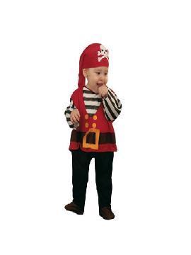 Disfraz de pirata bebe 7 a 12 meses. Los más pequeños de la familia se convertirán en auténticos bucaneros y se divertirán viviendo mil aventuras con sus amigas en Fiestas de la Guardería. Este disfraz es ideal para tus fiestas temáticas de piratas y corsarios para infantil