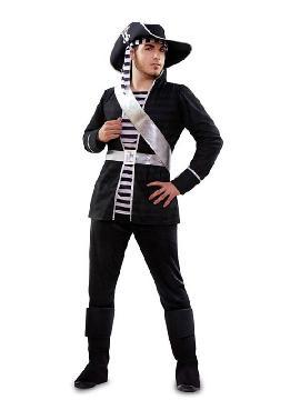 disfraz de pirata blanco y negro para hombre adulto. bandona el mar del caribe y en compañía del resto de la tripulación podréis disfrutar de las fiestas de disfraces.Este disfraz es ideal para tus fiestas temáticas de disfraces de piratas, corsarios y bucaneros adulto.
