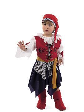 disfraz de pirata bucanera para bebe. Los más pequeños de la familia se convertirán en auténticos bucaneros y se divertirán viviendo mil aventuras con sus amigas en Fiestas de la Guardería. Este disfraz es ideal para tus fiestas temáticas de piratas y corsarios bebe.
